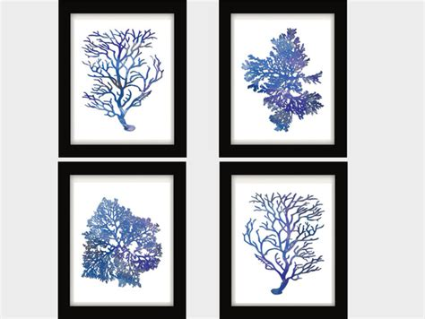 blue and white painting blue white blue coral blue coral wall art blue