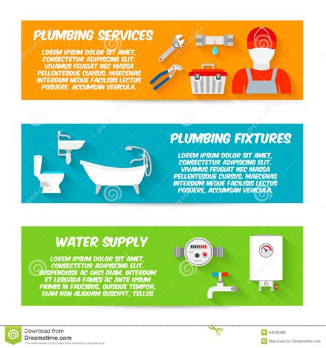 plumbing icons banner set stock vector image 44536388