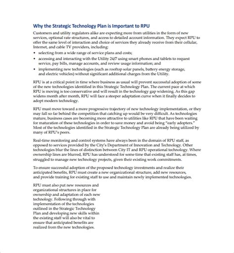 technology strategic plan template 10 technology plan templates sle templates