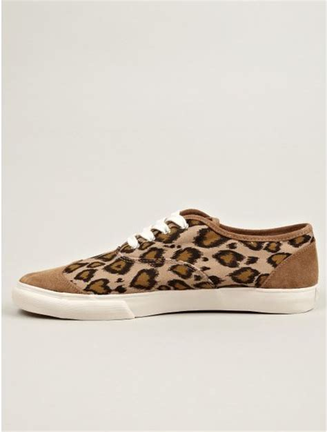 ymc mens leopard print canvas lace up sneakers in animal