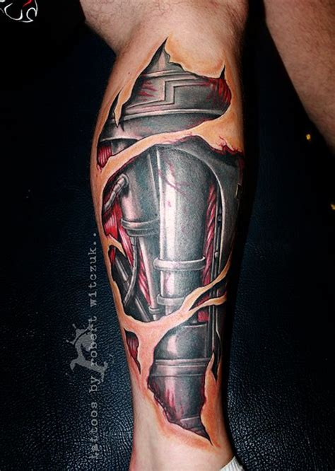 biomechanical tattoo terminator terminator leg tattoos by robert witczuk colour tattoos