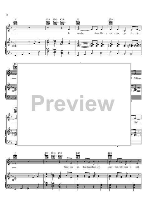 theme song route 66 nat king cole route 66 sheet music onlinesheetmusic com
