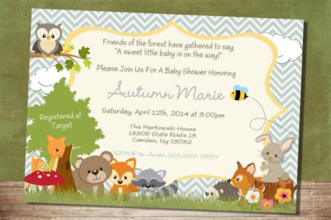 Animal Themed Baby Shower Invitations by Unique Ideas For Woodland Creatures Baby Shower