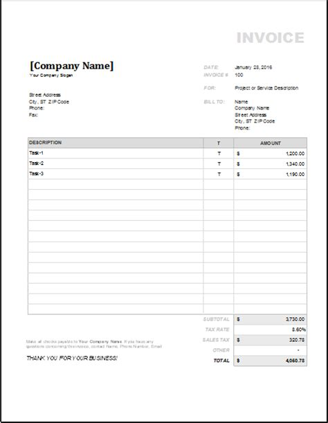 4 customizable invoice templates for excel word excel