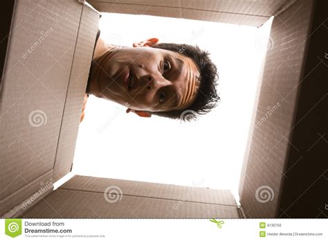 Square Storage Container - looking inside the box stock photo image of cardbox open 9130756