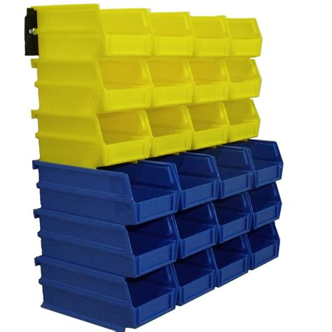 triton products 4 1 8 in w storage bin yellow and blue