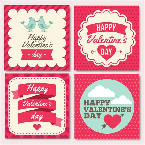 adobe illustrator s day card template set of 4 vectors s day cards clipart with hearts