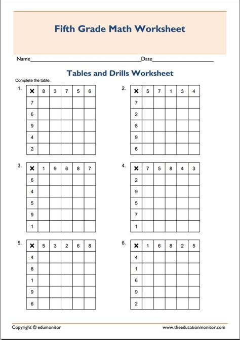 Practice Multiplication Tables by Practice Multiplication Tables And Drills Worksheet