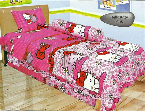sprei 120 single murah motif hello pink