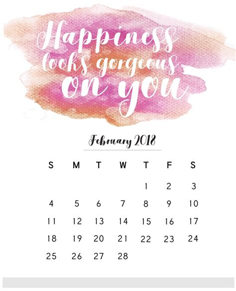 Beautiful And Quotes In 2018 2018 monthly calendar with quotes calendar 2018