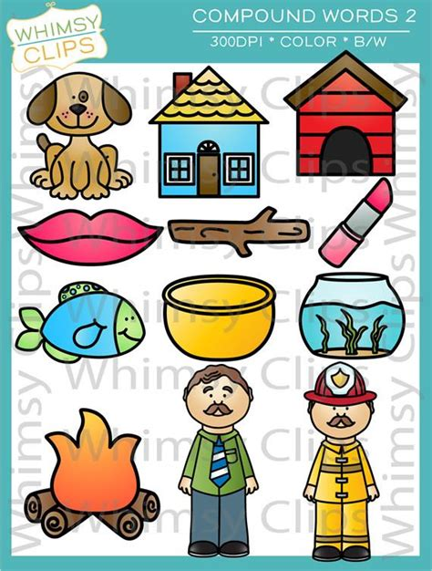 clip words compound words clip set two images illustrations