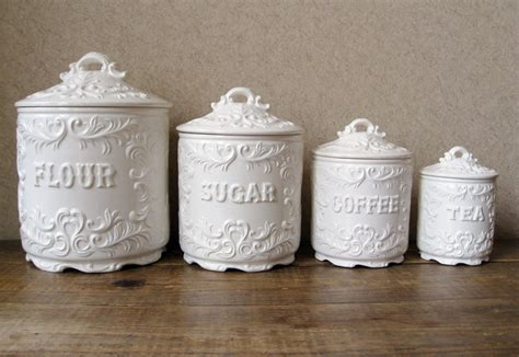Vintage Ceramic Kitchen Canisters by Vintage Canister Set Antique White With Ornate Details