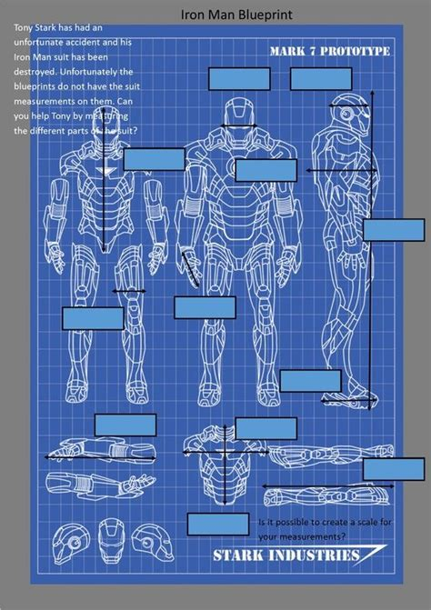 blueprint math iron man measuring blueprint sct maths pinterest