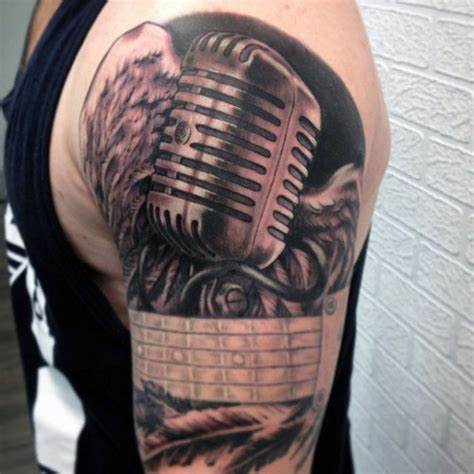 tattoo microphone and guitar 3d realistic looking black and white vintage microphone