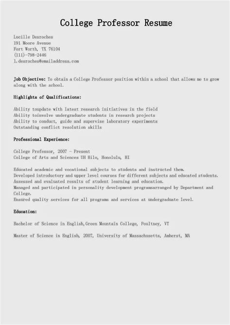Resume Sles College Professor Resume Sle Resume Template For Professor