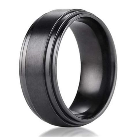8mm benchmark black titanium men s wedding ring with step