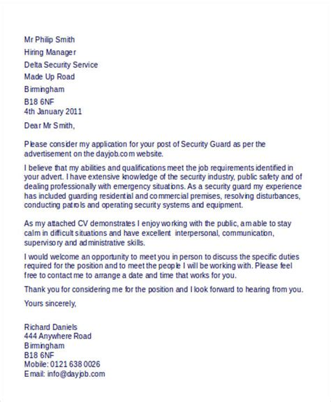 Apartment Security Guard Cover Letter by Security Guard Cover Letter 9 Free Word Pdf Format Free Premium Templates