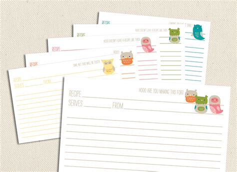 owl printable recipe cards little owls printable and editable 4x6 recipe cards