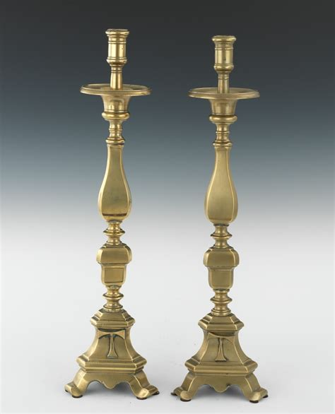 Candle Holders For Large Candles A Large Pair Of Ecclesiastical Brass Candle Holders 09 03 11