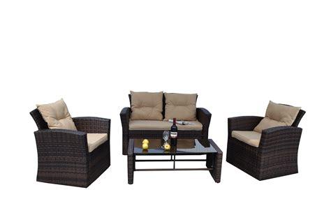 the hom roatan 4 pc wicker patio conversation set