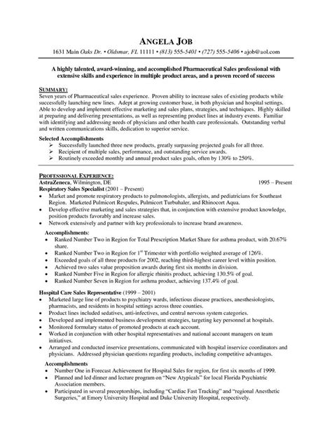 pharmaceutical sales resume exles http www