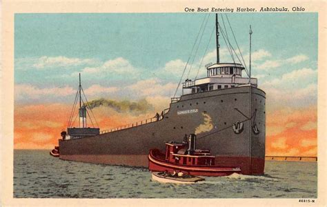 ebay boats ohio ashtabula ohio ore boat entering harbor antique postcard