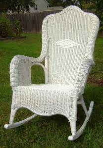 Vintage white wicker rocking chair by seasidefurnitureshop on etsy