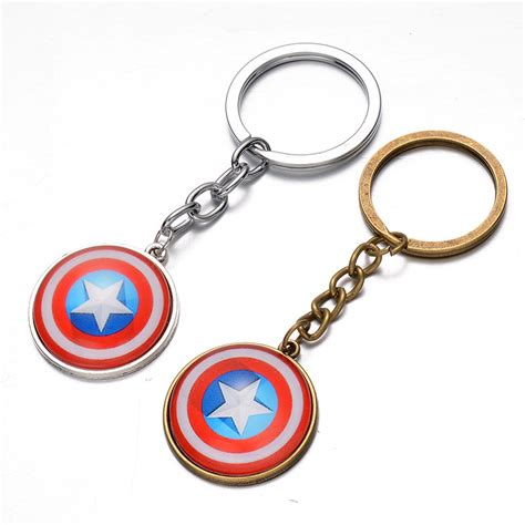 Gantungan Kunci Shield Captaian America 2 Keychains Marvel 1pcs 2016 newest toys the marvel character captain america shield keychain
