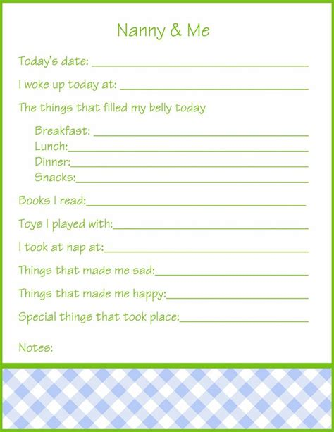 nanny daily log template day to day nanny log sheet printable the baby whisperer