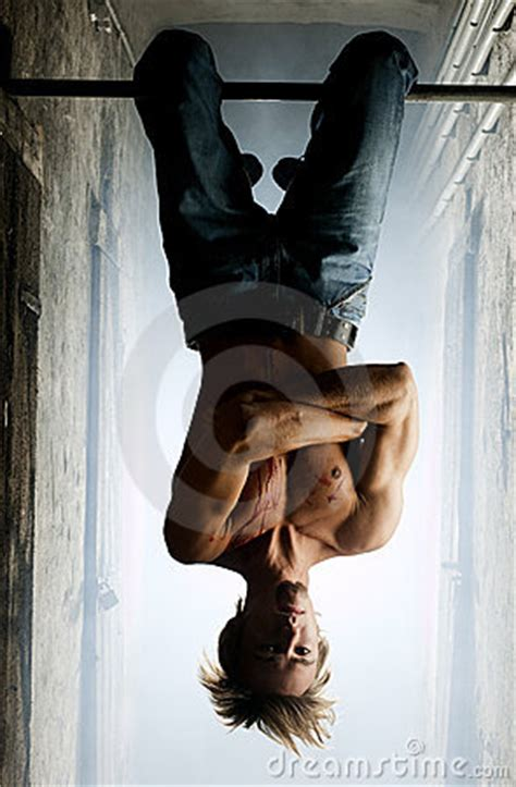 male vampire hanging upside  stock images image