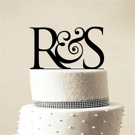 Monogram Wedding Cake Toppers by Personalized Monogram Black Gold Silver Wedding Cake