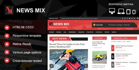 news html5 template news mix responsive html 5 website template themeforest