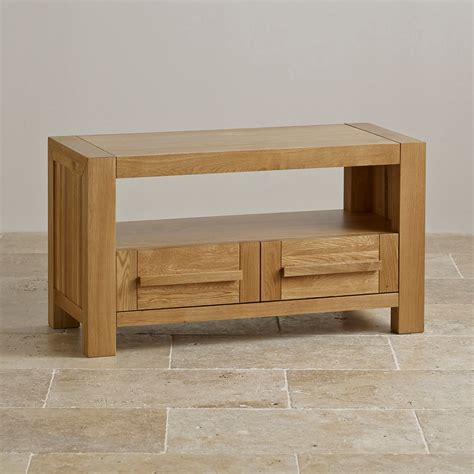 Fresco 2 Drawer TV Cabinet in Solid Oak   Oak Furniture Land