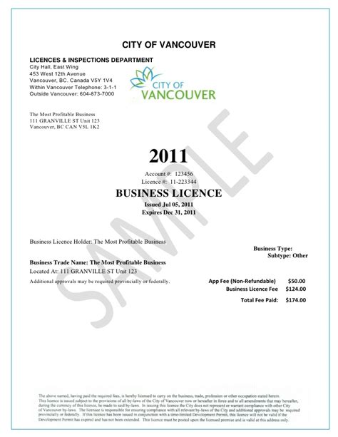 templates for business vancouver business licence sle