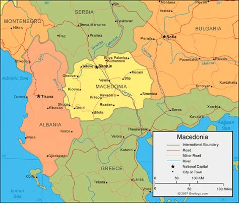 physical map of macedonia macedonia map and satellite image