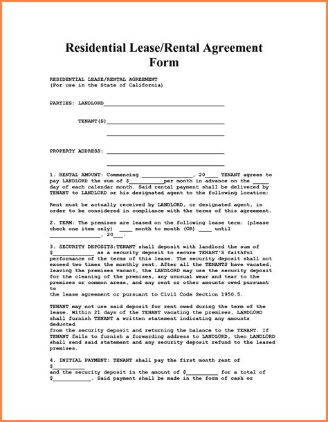 4 apartment lease agreement template word purchase