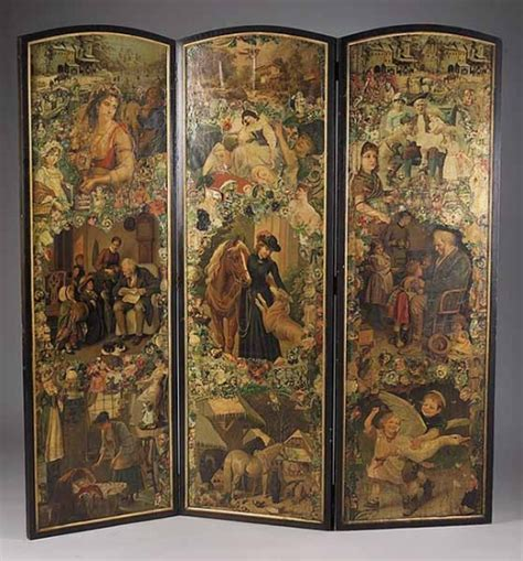 Decoupage Screen - w 590 a decoupage three panel screen late 19th