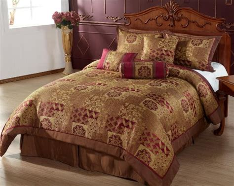 7pc comforter set brown gold burgundy bed in a bag queen