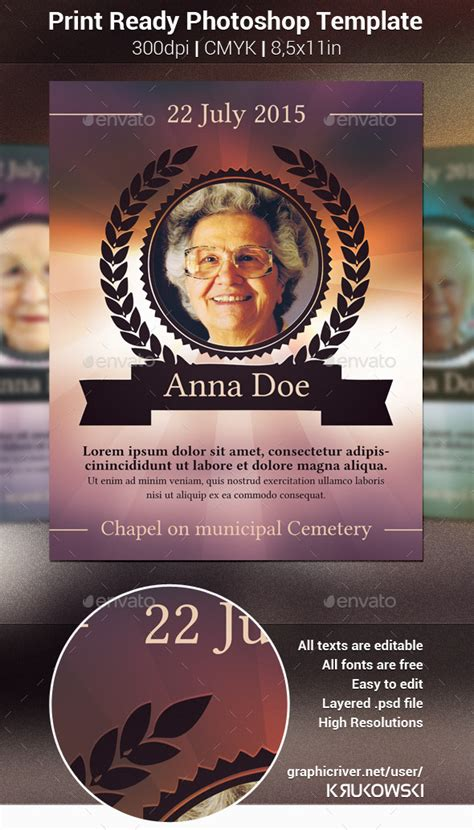 Free Obituary Template For Photoshop Free Download 187 Chreagle Com Graphicriver Iii Flyer Template