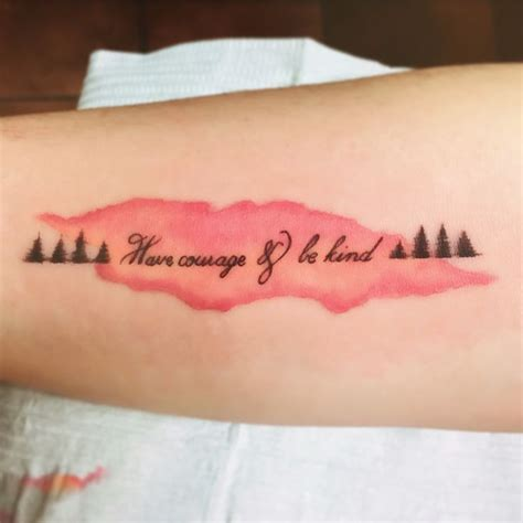 be kind tattoo courage and be forearm watercolor tree
