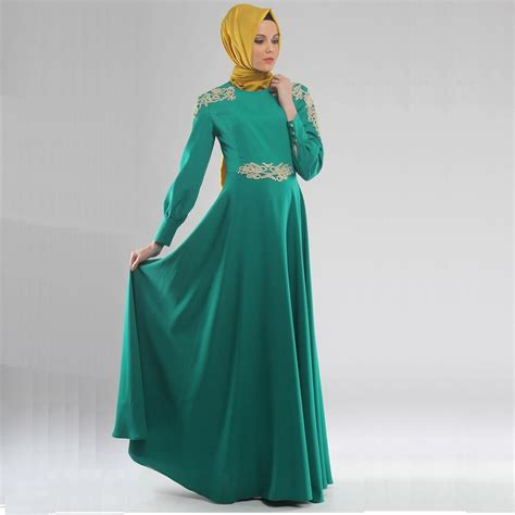 Gamis Abaya Kaftan Syar I 2tone 1 emerald green formal caftan muslim dress chiffon