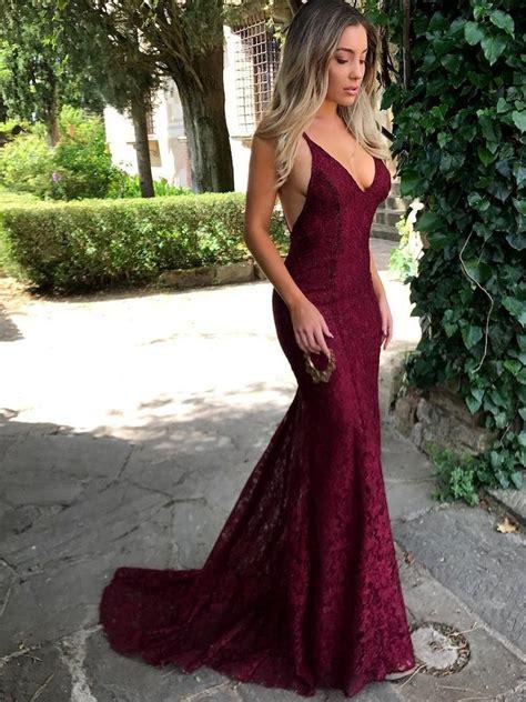 prom dress mermaid gold wedding dress lace up open back prom wedding dress inspiration spaghetti straps trumpet mermaid backless maroon burgundy lace pr jbydress