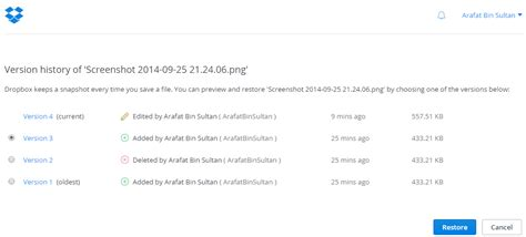 dropbox version history dropbox windows application overview