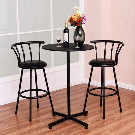costway  piece bar table set   stools bistro pub kitchen dining furniture black walmartcom