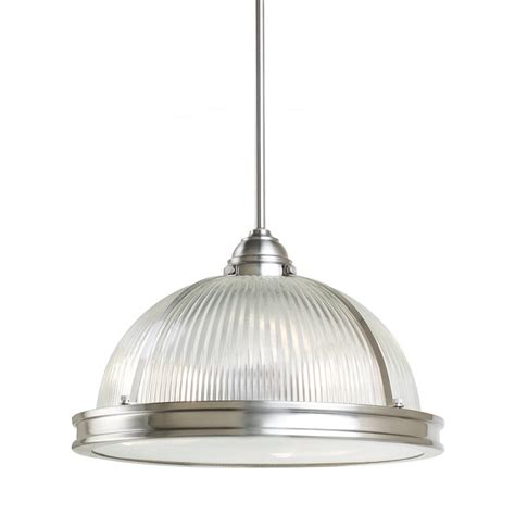 Sea Glass Pendant Light Shop Sea Gull Lighting Pratt 16 25 In Brushed Nickel Industrial Hardwired Single Ribbed