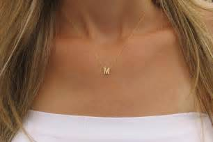 goldfilled initial necklace gold letter necklace tiny