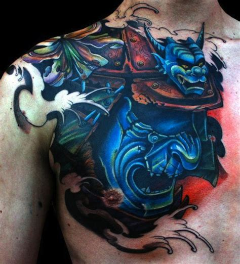 tattoo chest samurai blue samurai mask chest tattoo tattoomagz