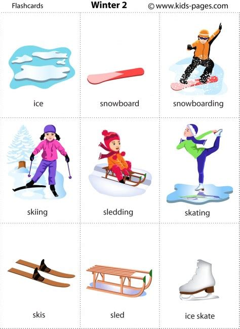 printable word flashcards for toddlers winter 2 flashcard