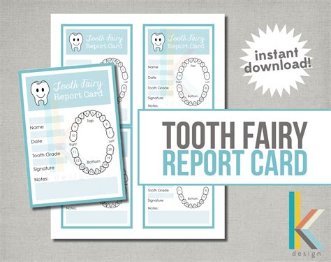printable card from tooth fairy tooth fairy report card digital file instant download