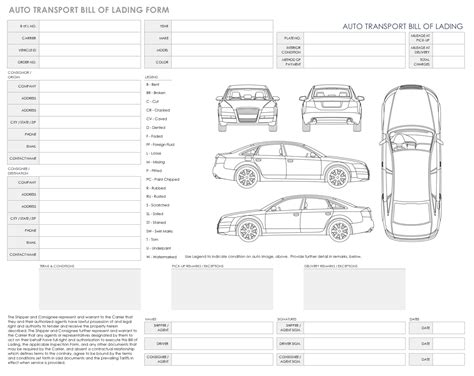 Free Bill Of Lading Templates Smartsheet Auto Transport Bill Of Lading Template Free